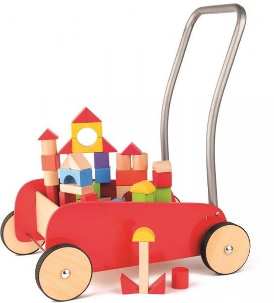 Woody Dřevěný vozík s dřevěnými kostkami - červený