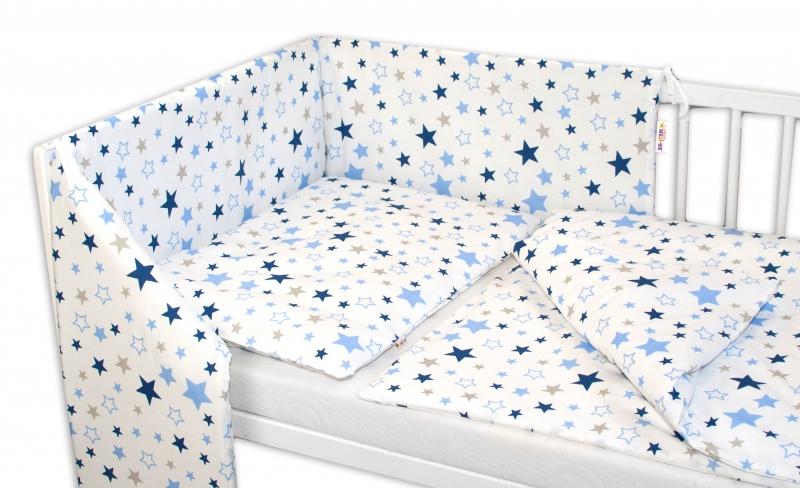 3-dílná sada - mantinel s povlečením Hvězdy a hvězdičky - modrá/granát na bílém