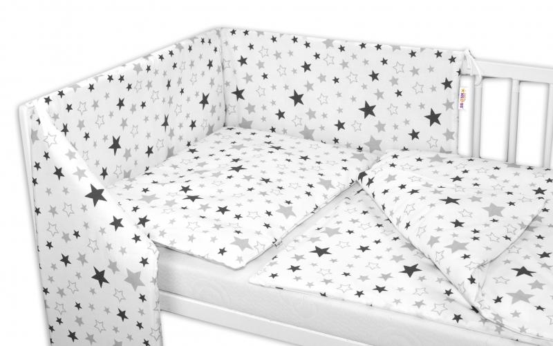 Baby Nellys 3-dílná sada - mantinel s povlečením Hvězdy a hvězdičky - šedá/grafit na bílém