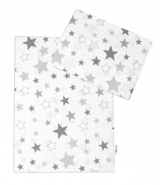 3-dílná sada - mantinel s povlečením Hvězdy a hvězdičky 135x100 - šedá/grafit na bílém
