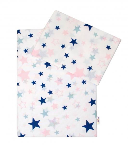 3-dílná sada - mantinel s povlečením Hvězdy a hvězdičky 135x100 - růžová/granát na bílém