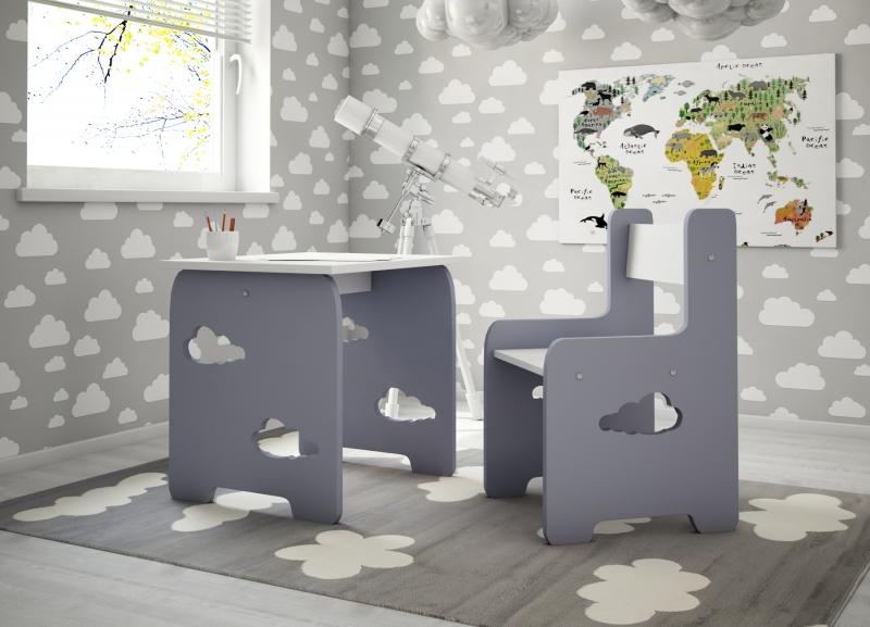NELLYS Sada nábytku Obláček - Stůl + židle - šedá s bílou, D19