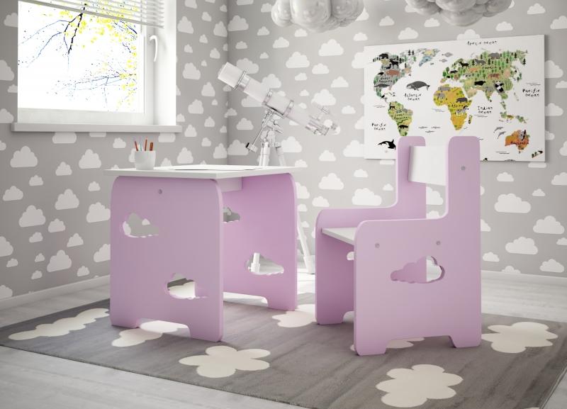 Sada nábytku Obláček - Stůl + židle - růžová s bílou, D19