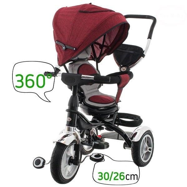 Dětská tříkolka Euro Baby  s vodící tyčí 2019 - červená, K19