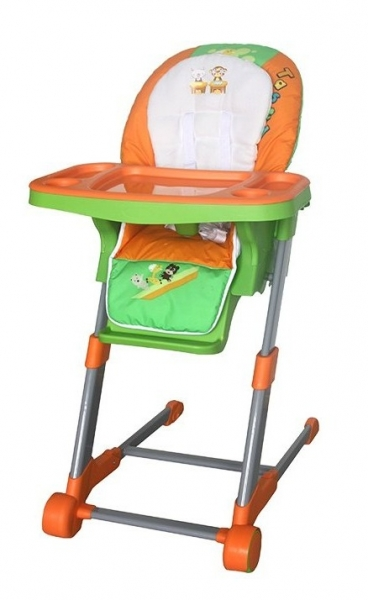 Dětská multifunkční jídelní židle Euro Baby - oranžová, zelená, K19