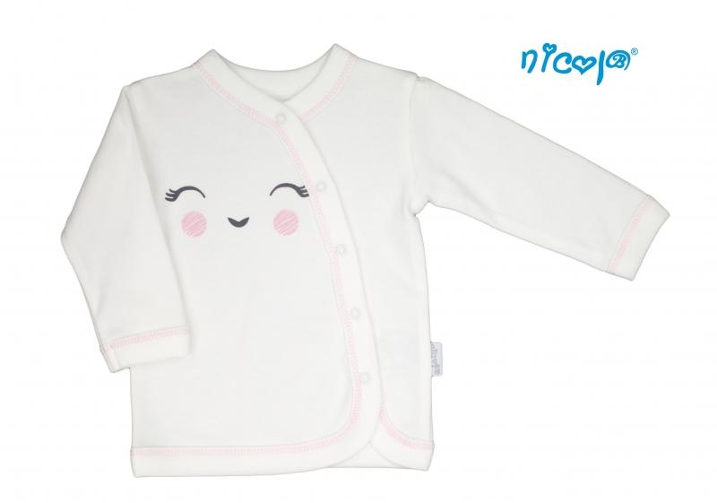 Nicol Novorozenacká bavlněná košilka Lady - zapínání bokem - bílá