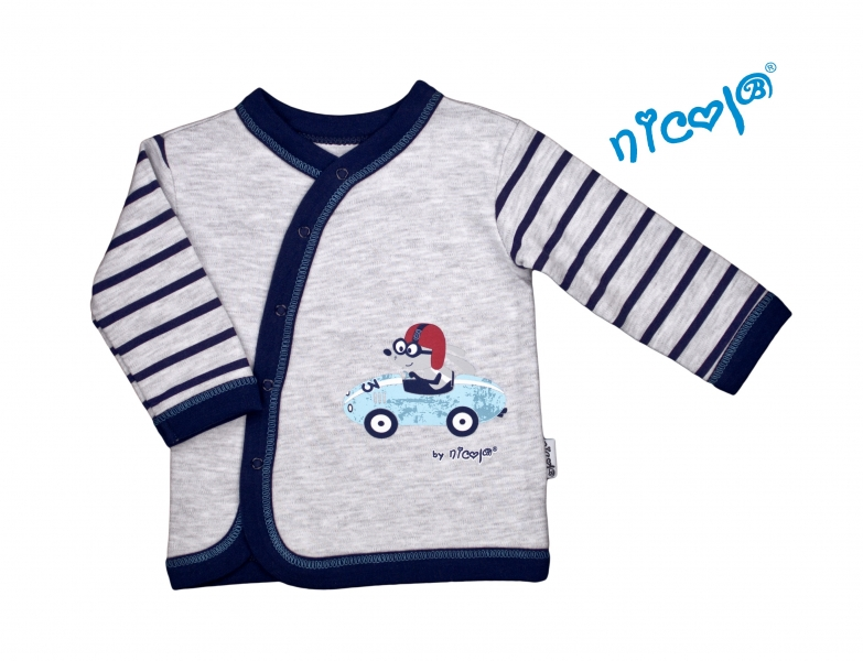 Novorozenecká bavlněná košilka Car - zapínání bokem - šedá s proužky, vel. 68