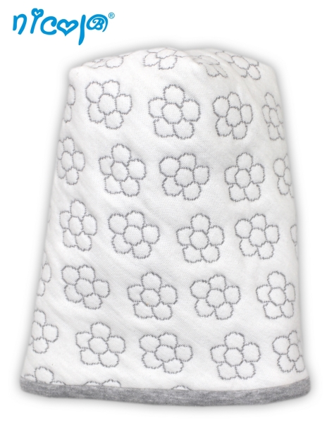 Nicol Kojenecká čepice Lady bílá - potisk květinky, vel. 104/116