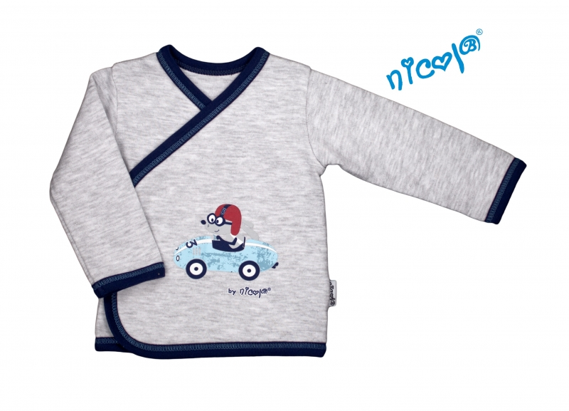 Nicol Novorozenecká bavlněná košilka Car - zapínání bokem - šedý melírek