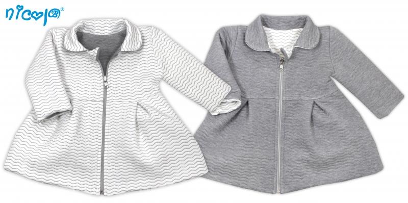 Kojenecký kabátek Lady oboustranný - bílo/šedý, vel. 80, Velikost: 80 (9-12m)