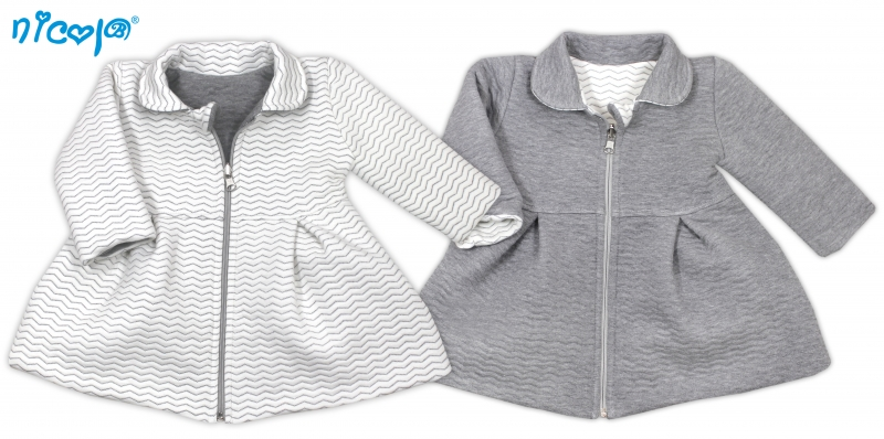 Nicol Kojenecký kabátek Lady oboustranný - bílo/šedý, vel. 98vel. 98 (24-36m)