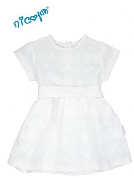 Kojenecké šaty Lady - bílé, krátký rukáv, Velikost: 56 (1-2m)
