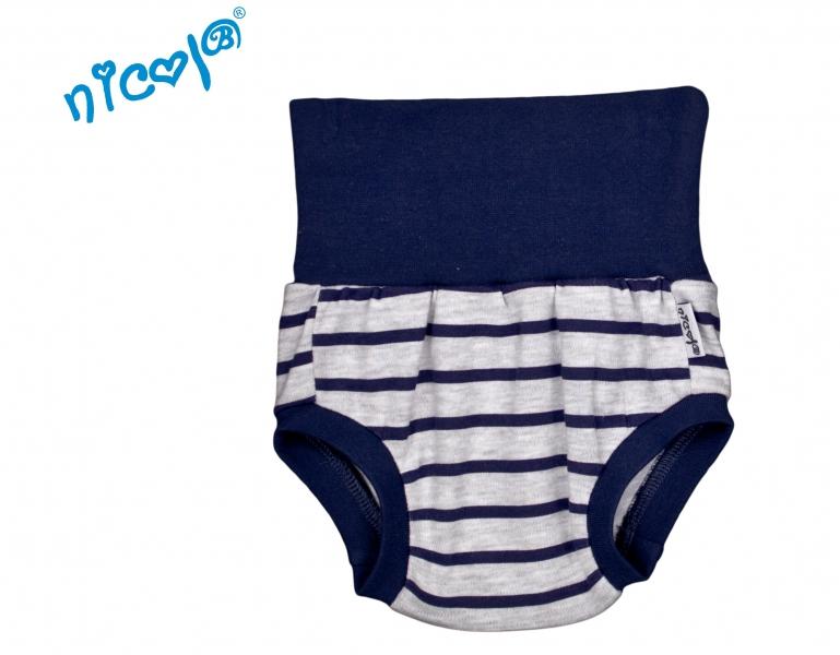 Bavlněné kalhotky, kraťásky Nicol Car - šedé, pruhy granátové, Velikost: 0/3měsíců