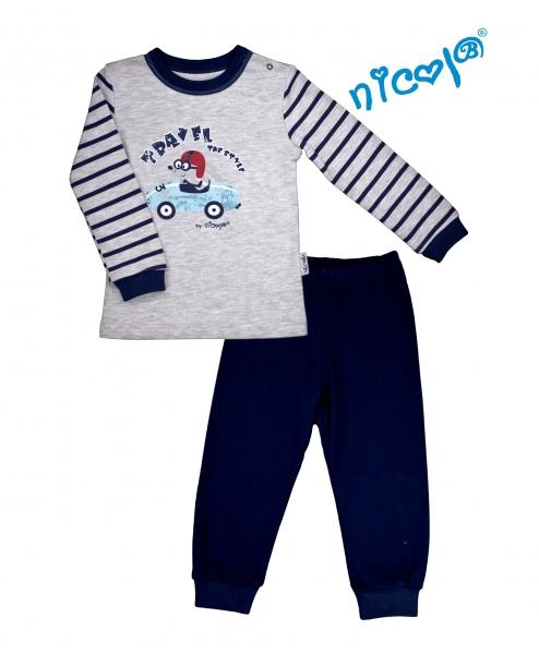Dětské pyžamo Nicol, Car - šedé/granátové