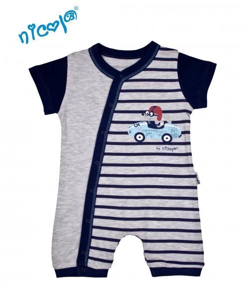 Body s nohavičkami Nicol - krátký rukáv, Car - šedé, vel. 62, Velikost: 62 (2-3m)