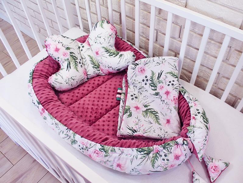 Sada komplet Baby Nellys, oboustranné hnízdečko, 60x90cm - Květinky, minky růžová