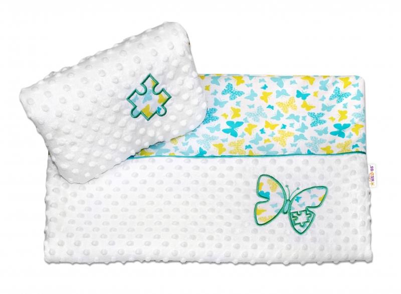 Baby Nellys Sada do kočárku Motýlci s Minky - žlutí, modří