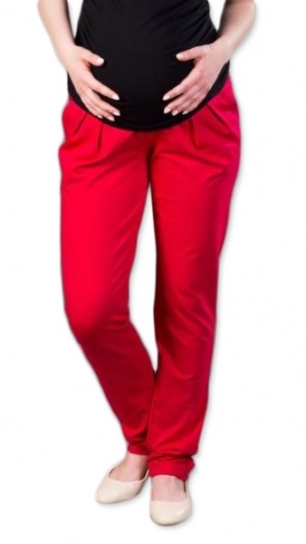 Těhotenské kalhoty/tepláky Gregx, Awan s kapsami - červené, vel. L