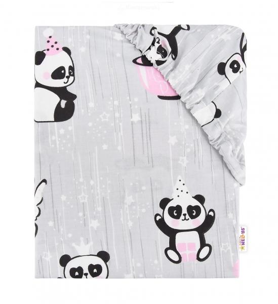 Baby Nellys Dětské bavlněné prostěradlo do postýlky - Happy Panda - růžové