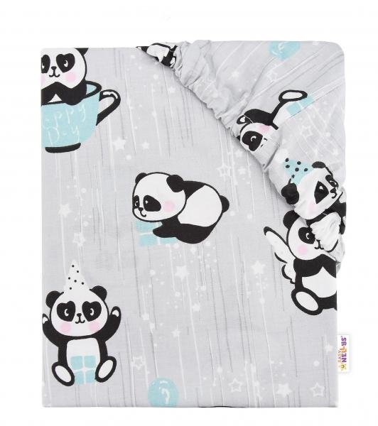 Baby Nellys Dětské bavlněné prostěradlo do postýlky, 140x70 cm - Happy Panda - mátové
