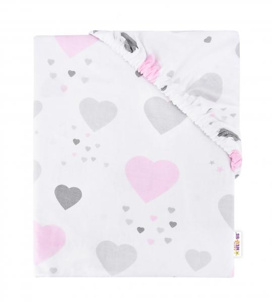 Baby Nellys Dětské bavlněné prostěradlo do postýlky, 140x70 cm - Happy Srdíčka - růžové