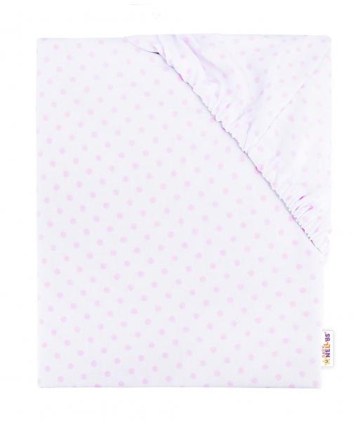 Baby Nellys Dětské bavlněné prostěradlo do postýlky, 140x70 cm - Puntíčky - růžové
