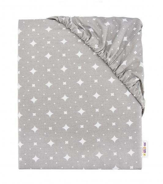 Baby Nellys Dětské bavlněné prostěradlo do postýlky, 140x70 cm - Kárko - šedé