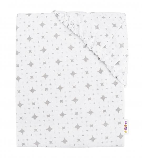 Baby Nellys Dětské bavlněné prostěradlo do postýlky, 140x70 cm - Kárko - bílé