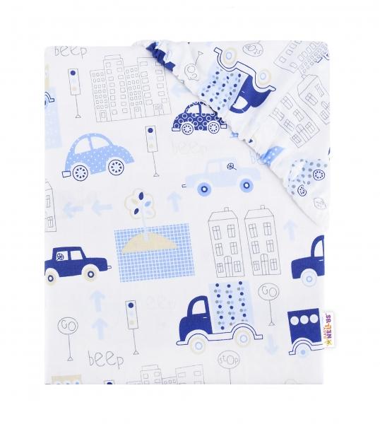 Baby Nellys Dětské bavlněné prostěradlo do postýlky, 140x70 cm - Autíčka - modré