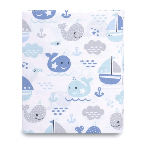 Baby Nellys Dětské bavlněné prostěradlo do postýlky, 140x70 cm - Oceán Baby