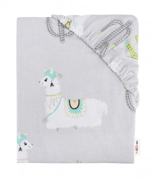 Baby Nellys Dětské bavlněné prostěradlo do postýlky, 140x70 cm - Lama šedá