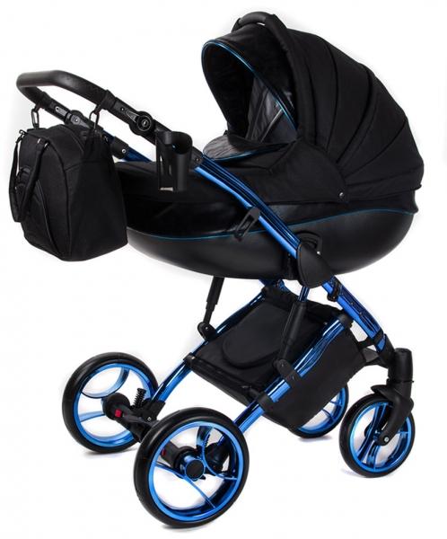Kočárek BLUE METALIC 2v1 - černý/modrý