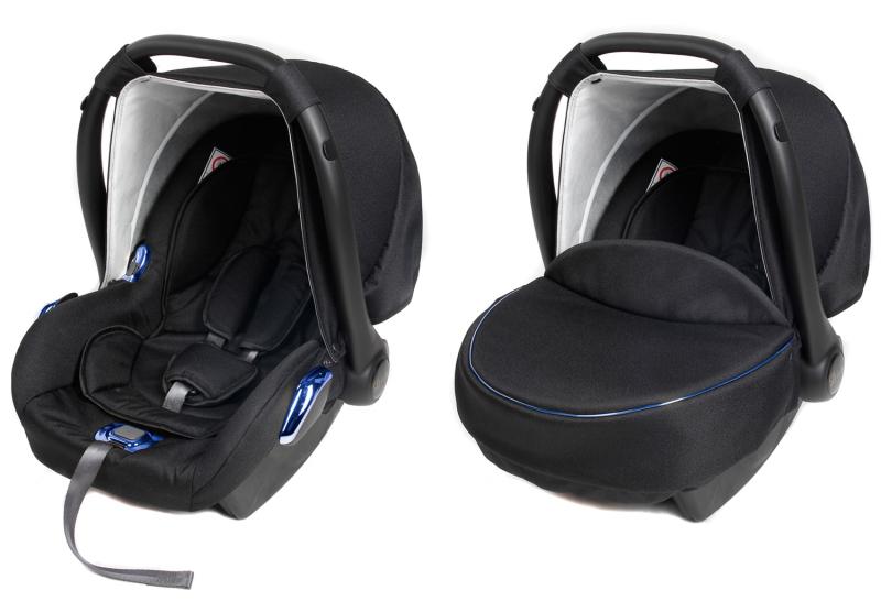 Dětská autosedačka/vajíčko BLUE METALIC - černá/modrá