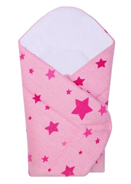 Novorozenecká zavinovačka Hvězda Baby Nellys z úpletu - růžová