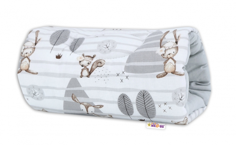 Baby Nellys  Kojící polštář na ruku Baby Nellys, Zvířátka v lese - šedý
