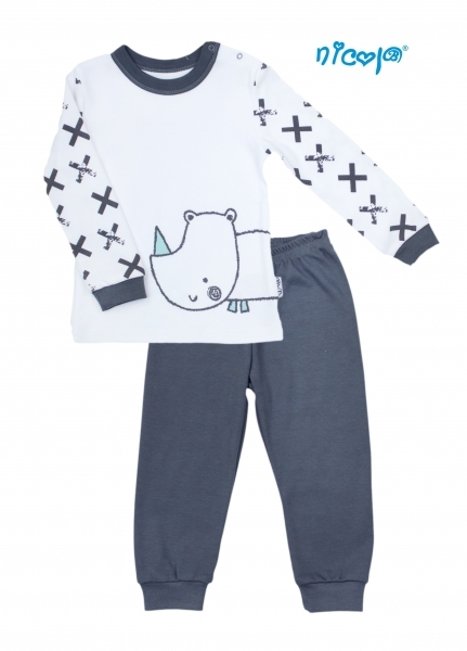 Dětské pyžamo Nicol, Rhino - bílé/grafit, vel. 98