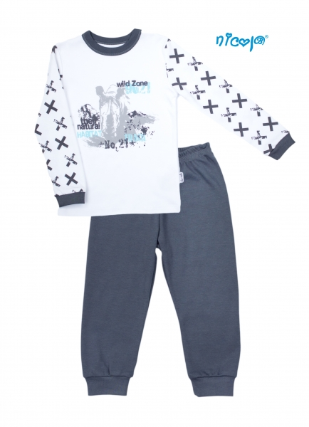 Dětské pyžamo Nicol, Rhino - bílé/grafit, Velikost: 104