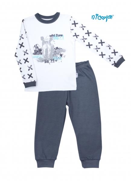 Dětské pyžamo Nicol, Rhino - bílé/grafit, vel. 116