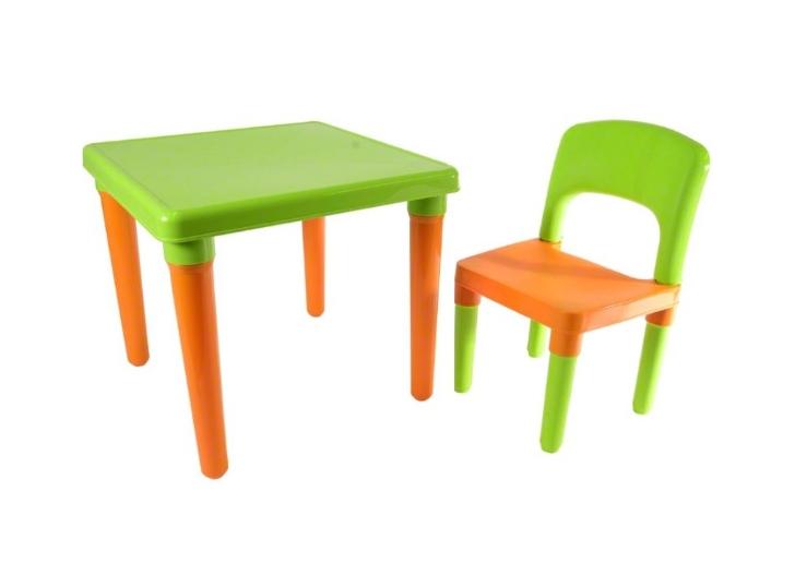 Tutumi Sada nábytku pro děti Pikolo stolek + židle - zeleno/oranžová