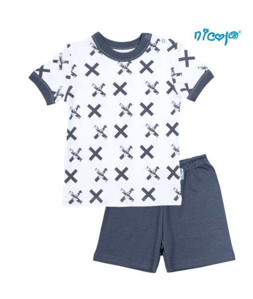 Dětské pyžamo krátké Nicol, Rhino - bílé/grafit, vel.128