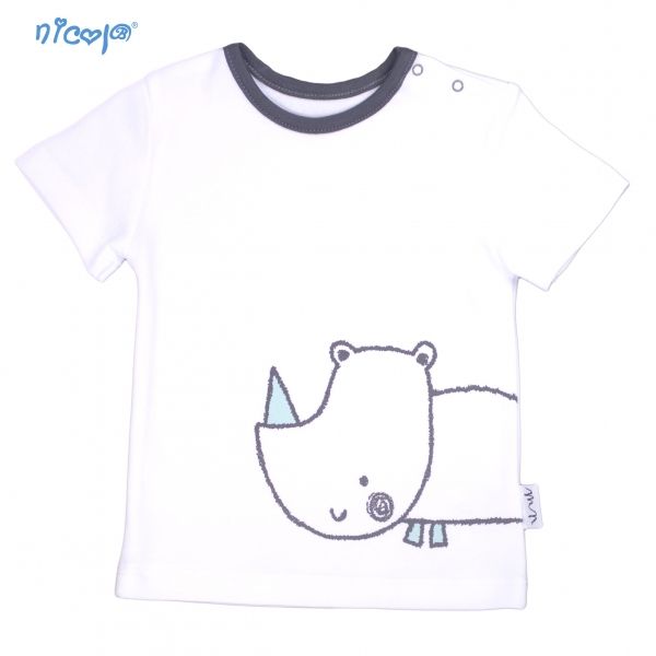 Bavlněné tričko krátký rukáv Nicol, Rhino - bílé, Velikost: 56 (1-2m)