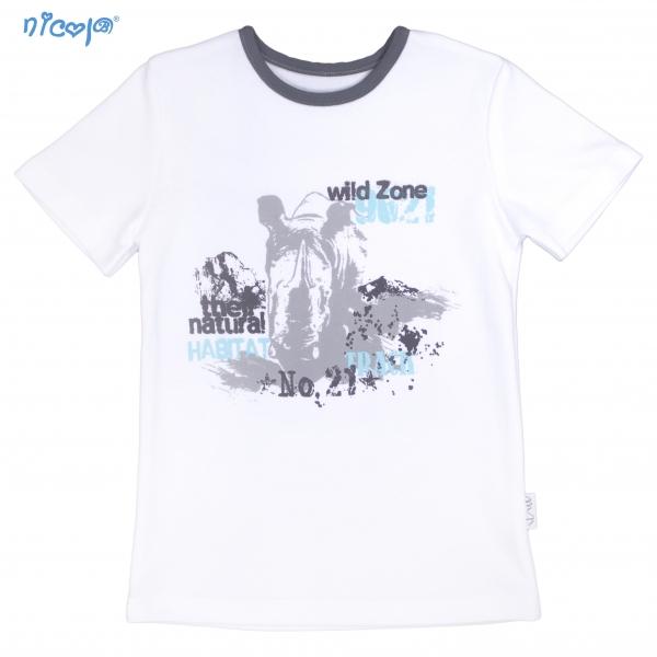 Bavlněné tričko krátký rukáv Nicol, Rhino - bílé, bel.128