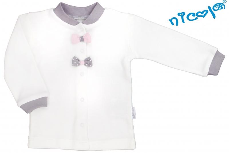 Novorozenacká bavlněná košilka Nicol, Paula  - bílá s mašličkou, vel. 52vel. 52 (0-1m)