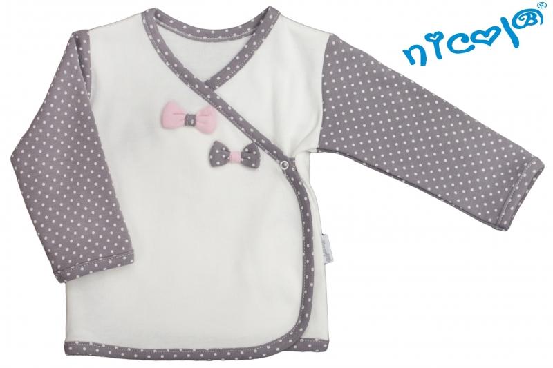 Novorozenecká košilka Nicol, Paula - zapínání bokem - bílo/šedá, vel. 56
