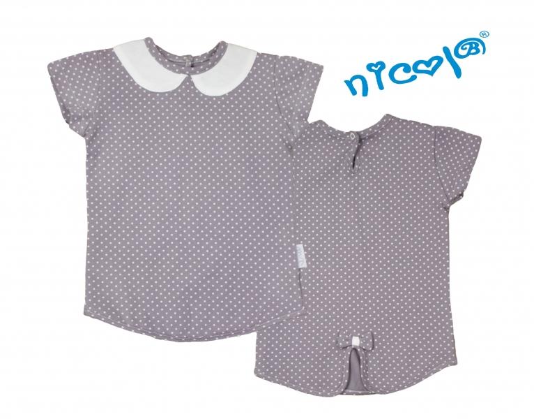 Bavlněné tričko Nicol, Paula - krátký rukáv, šedé, vel. 92