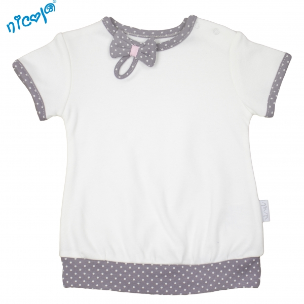 Bavlněné tričko Nicol, Paula - krátký rukáv, bílé, vel. 86