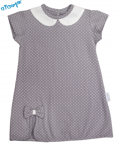 Kojenecké šaty Nicol, Paula - šedé, Velikost: 56 (1-2m)