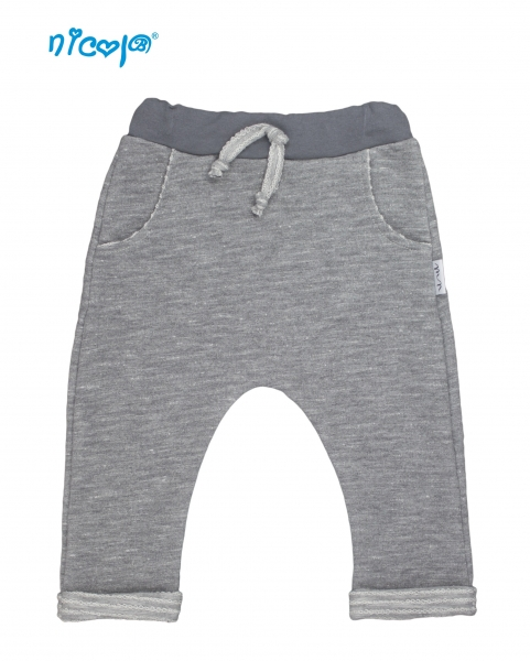 Kojenecké bavlněné tepláky Nicol, Rhino - šedé, vel.86, Velikost: 86 (12-18m)