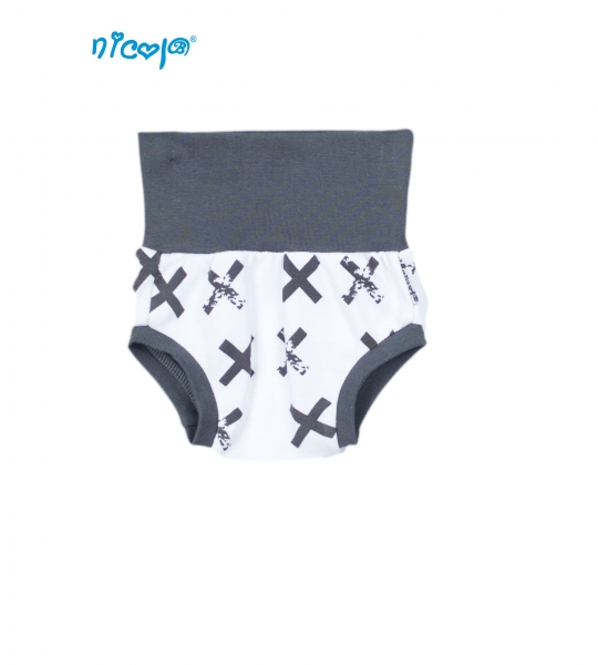 Bavlněné kalhotky, kraťásky Nicol Rhino - bílé/grafit, Vel. 3-6m