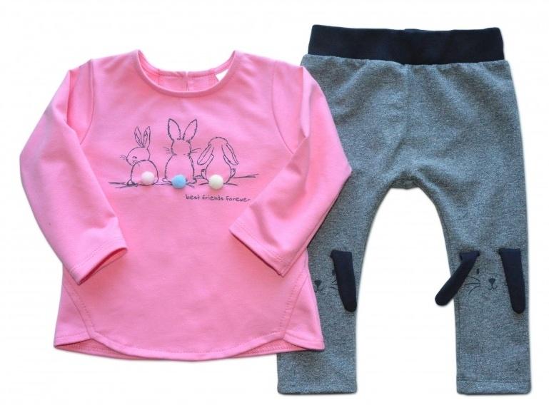 K-Baby Tepláková souprava Best Friends - růžová/melírek grafit, vel. 80, Velikost: 80 (9-12m)